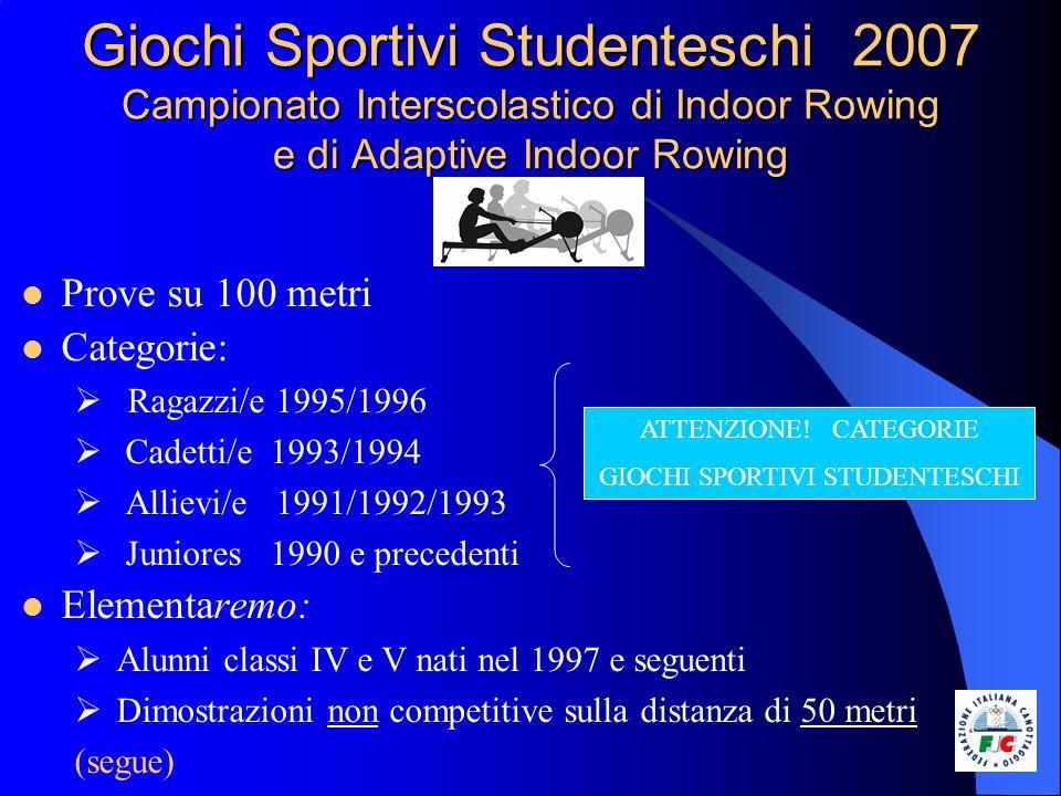 Giochi Sportivi Studenteschi 2007 Campionato Interscolastico di Indoor Rowing e di Adaptive Indoor Rowing Prove su 100 metri Categorie: Ragazzi/e 1995