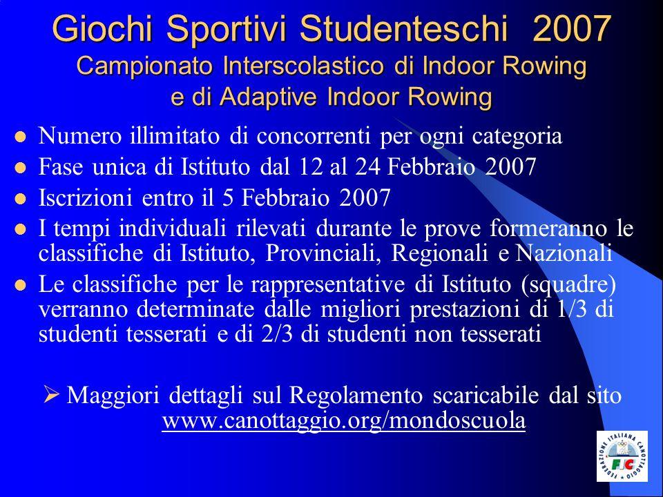 Giochi Sportivi Studenteschi 2007 Regate di Canottaggio e di Adaptive Rowing Categorie: Ragazzi/e 1995/1996 Cadetti/e 1993/1994 Allievi/e 1991/1992/1993 Juniores 1990 e precedenti Imbarcazioni e distanze: Ragazzi/e – Cadetti/e Quattro di Coppia mt.