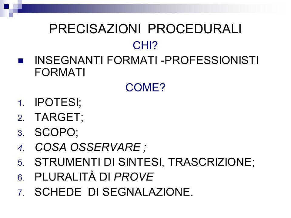 PRECISAZIONI PROCEDURALI CHI? INSEGNANTI FORMATI -PROFESSIONISTI FORMATI COME? 1. IPOTESI; 2. TARGET; 3. SCOPO; 4. COSA OSSERVARE ; 5. STRUMENTI DI SI