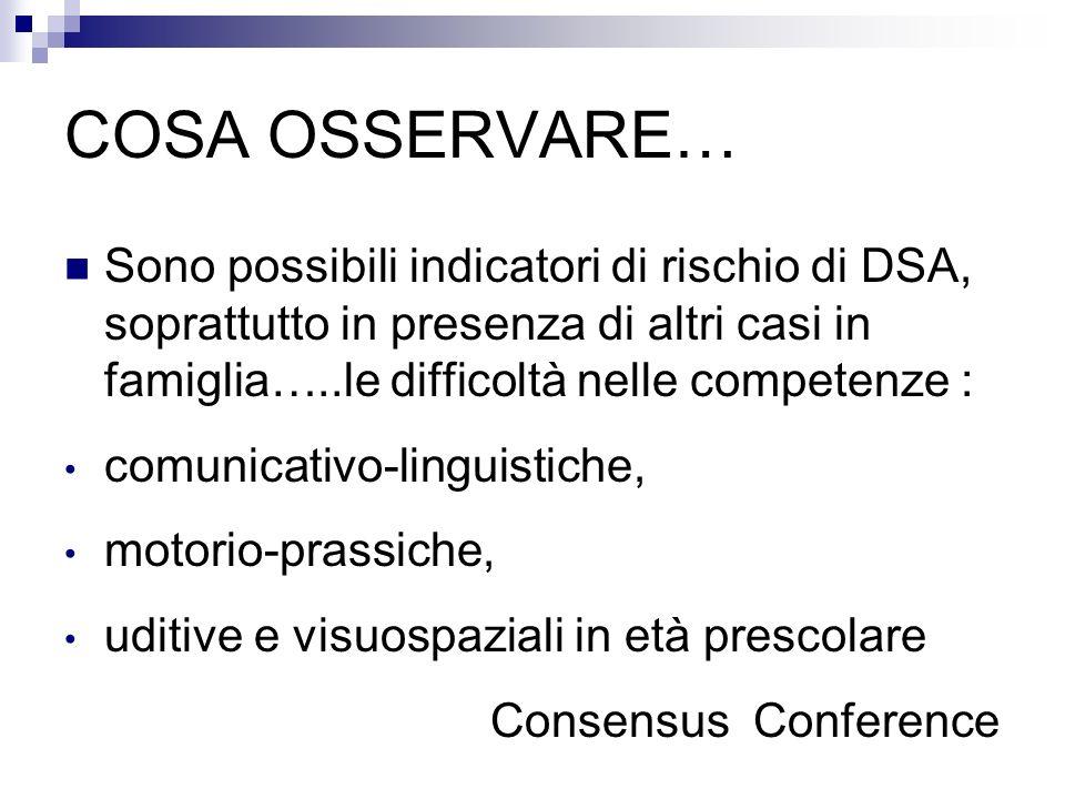 COSA OSSERVARE… Sono possibili indicatori di rischio di DSA, soprattutto in presenza di altri casi in famiglia…..le difficoltà nelle competenze : comu