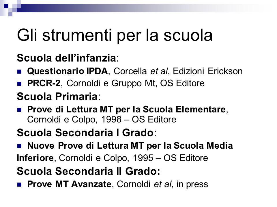 Gli strumenti per la scuola Scuola dellinfanzia: Questionario IPDA, Corcella et al, Edizioni Erickson PRCR-2, Cornoldi e Gruppo Mt, OS Editore Scuola