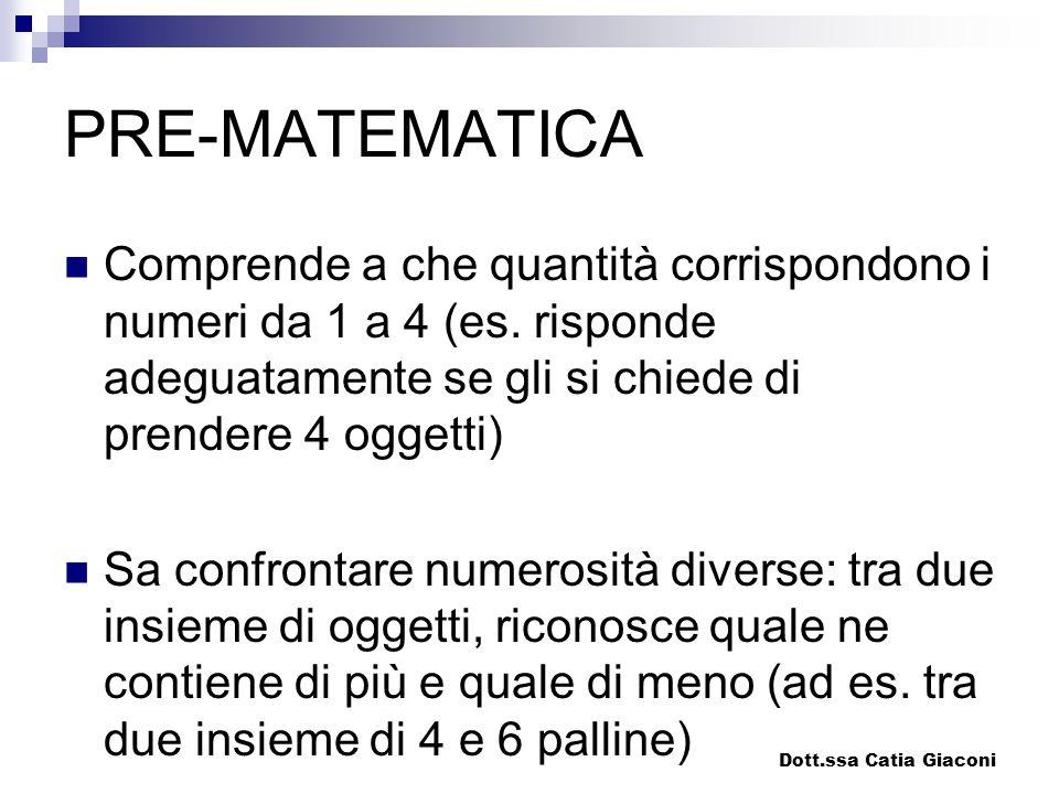 PRE-MATEMATICA Comprende a che quantità corrispondono i numeri da 1 a 4 (es. risponde adeguatamente se gli si chiede di prendere 4 oggetti) Sa confron
