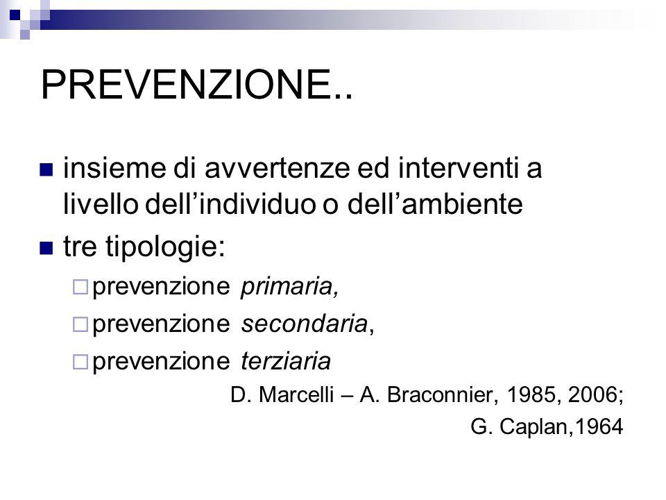 PREVENZIONE.. insieme di avvertenze ed interventi a livello dellindividuo o dellambiente tre tipologie: prevenzione primaria, prevenzione secondaria,