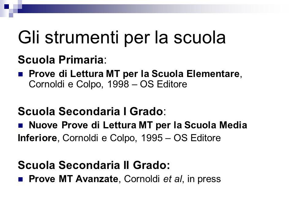 Gli strumenti per la scuola Scuola Primaria: Prove di Lettura MT per la Scuola Elementare, Cornoldi e Colpo, 1998 – OS Editore Scuola Secondaria I Gra