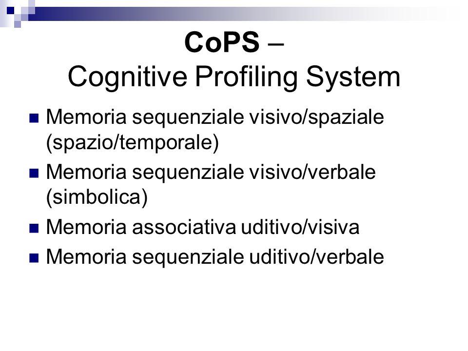 CoPS – Cognitive Profiling System Memoria sequenziale visivo/spaziale (spazio/temporale) Memoria sequenziale visivo/verbale (simbolica) Memoria associ