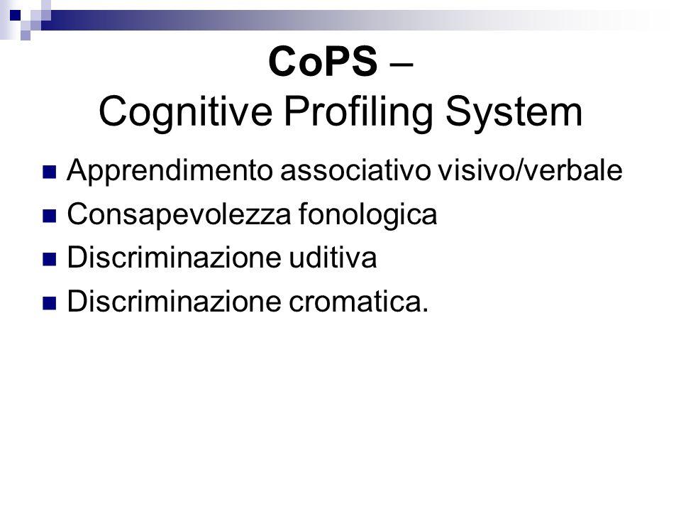 CoPS – Cognitive Profiling System Apprendimento associativo visivo/verbale Consapevolezza fonologica Discriminazione uditiva Discriminazione cromatica