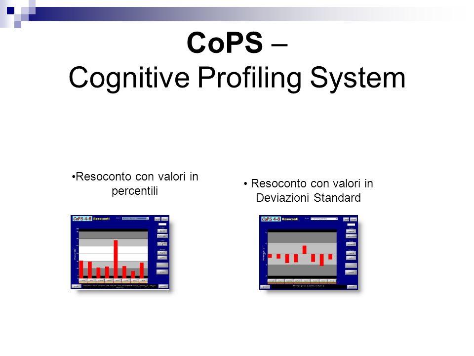 CoPS – Cognitive Profiling System Resoconto con valori in percentili Resoconto con valori in Deviazioni Standard