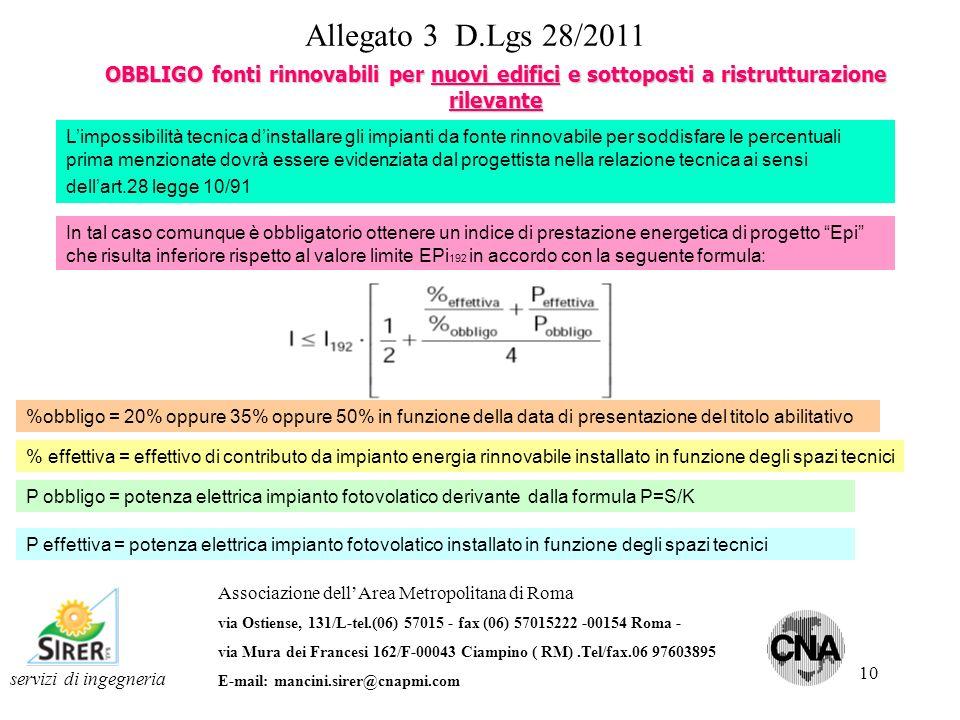 10 Allegato 3 D.Lgs 28/2011 OBBLIGO fonti rinnovabili per nuovi edifici e sottoposti a ristrutturazione rilevante servizi di ingegneria Associazione d