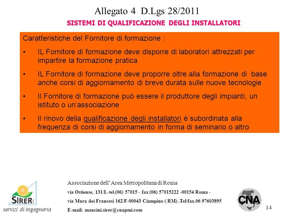 14 servizi di ingegneria Associazione dellArea Metropolitana di Roma via Ostiense, 131/L-tel.(06) 57015 - fax (06) 57015222 -00154 Roma - via Mura dei