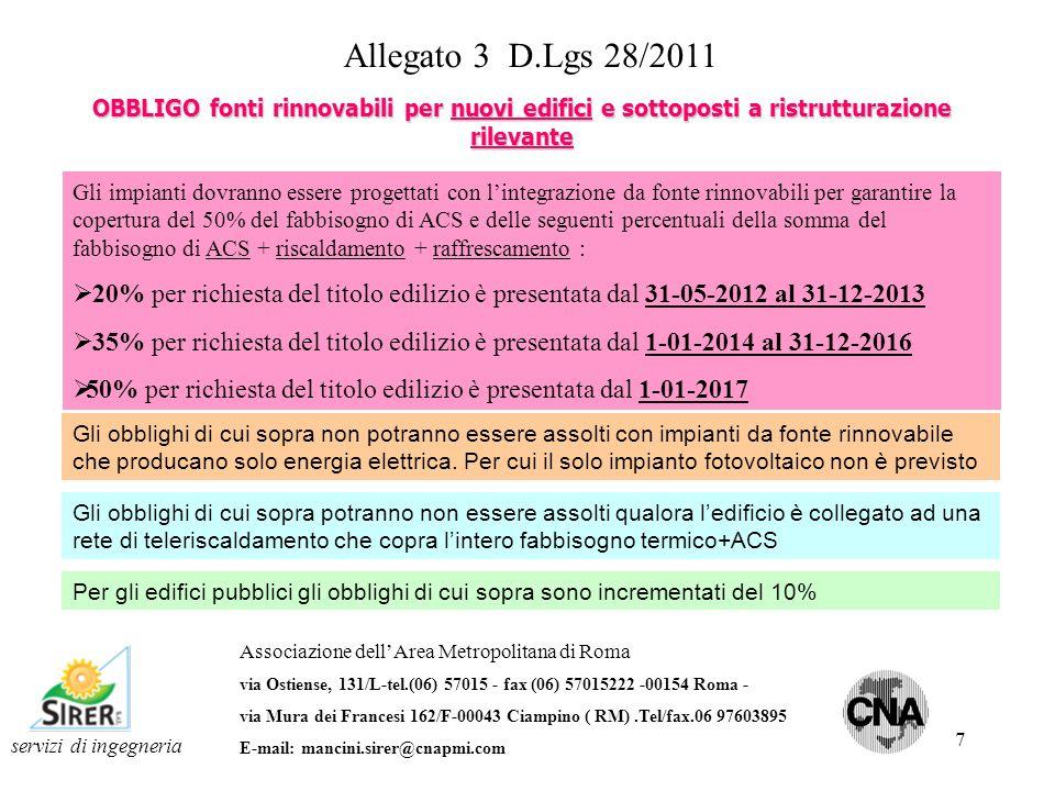 8 servizi di ingegneria Associazione dellArea Metropolitana di Roma via Ostiense, 131/L-tel.(06) 57015 - fax (06) 57015222 -00154 Roma - via Mura dei Francesi 162/F-00043 Ciampino ( RM).Tel/fax.06 97603895 E-mail: mancini.sirer@cnapmi.com Allegato 3 D.Lgs 28/2011 La potenza elettrica P obbligatoria degli impianto fotovoltaici che dovrà essere installata è calcolata secondo la formula : P = S/K Ove S = mq di superficie in pianta delledificio a livello del terreno K è un coefficiente ( mq/kW) che assume i seguenti valori K=80 per richiesta del titolo edilizio è presentata dal 31-05-2012 al 31-12-2013 K=65 per richiesta del titolo edilizio è presentata dal 1-01-2014 al 31-12-2016 K=50 per richiesta del titolo edilizio è presentata dal 1-01-2017 OBBLIGO fonti rinnovabili per nuovi edifici e sottoposti a ristrutturazione rilevante
