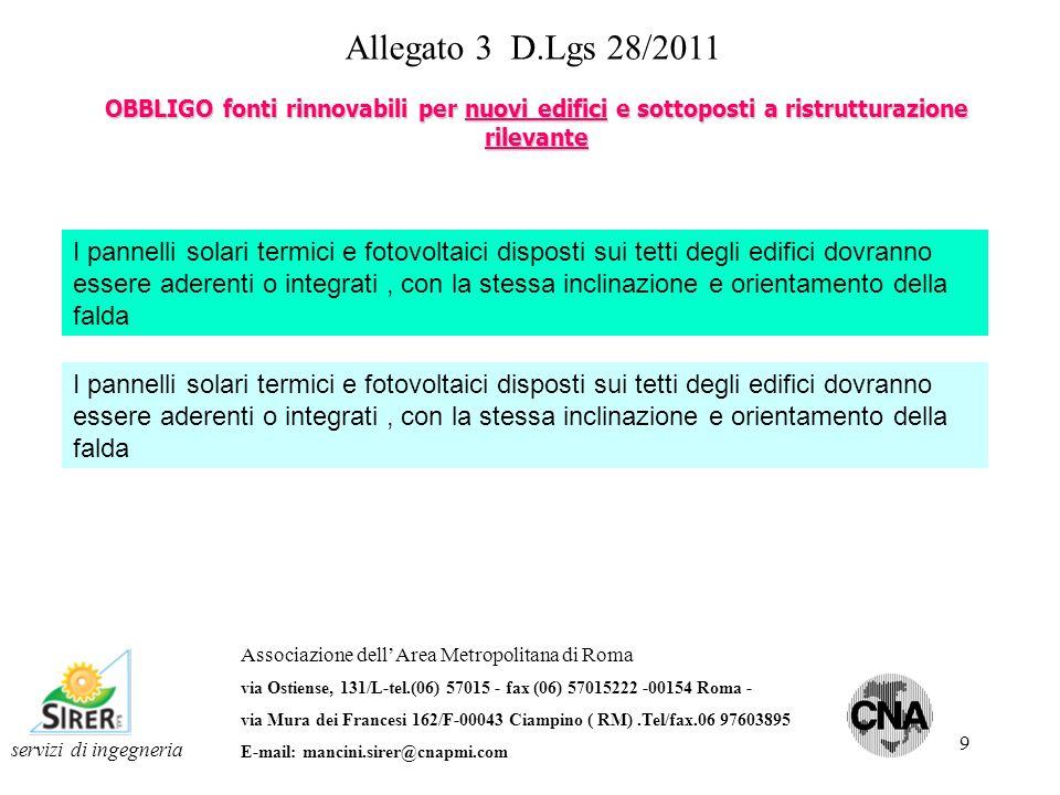 10 Allegato 3 D.Lgs 28/2011 OBBLIGO fonti rinnovabili per nuovi edifici e sottoposti a ristrutturazione rilevante servizi di ingegneria Associazione dellArea Metropolitana di Roma via Ostiense, 131/L-tel.(06) 57015 - fax (06) 57015222 -00154 Roma - via Mura dei Francesi 162/F-00043 Ciampino ( RM).Tel/fax.06 97603895 E-mail: mancini.sirer@cnapmi.com Limpossibilità tecnica dinstallare gli impianti da fonte rinnovabile per soddisfare le percentuali prima menzionate dovrà essere evidenziata dal progettista nella relazione tecnica ai sensi dellart.28 legge 10/91 In tal caso comunque è obbligatorio ottenere un indice di prestazione energetica di progetto Epi che risulta inferiore rispetto al valore limite EPi 192 in accordo con la seguente formula: %obbligo = 20% oppure 35% oppure 50% in funzione della data di presentazione del titolo abilitativo % effettiva = effettivo di contributo da impianto energia rinnovabile installato in funzione degli spazi tecnici P obbligo = potenza elettrica impianto fotovolatico derivante dalla formula P=S/K P effettiva = potenza elettrica impianto fotovolatico installato in funzione degli spazi tecnici