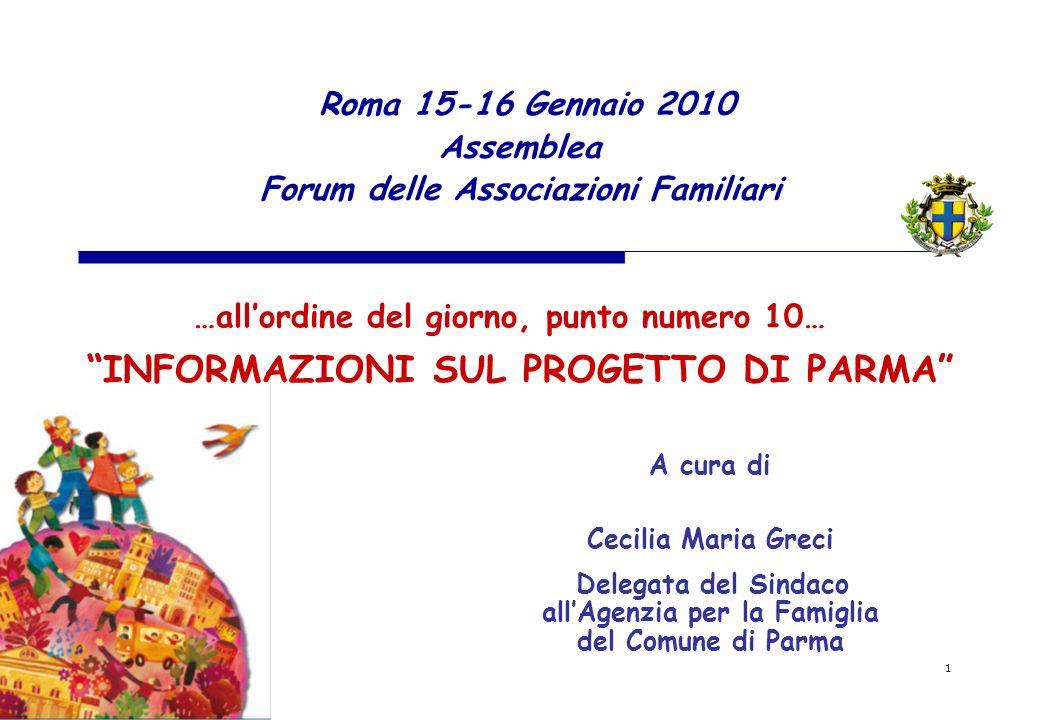 1 Roma 15-16 Gennaio 2010 Assemblea Forum delle Associazioni Familiari INFORMAZIONI SUL PROGETTO DI PARMA …allordine del giorno, punto numero 10… A cu