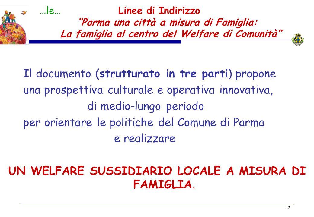BOZZA 13 …le… Linee di Indirizzo Parma una città a misura di Famiglia: La famiglia al centro del Welfare di Comunità Il documento (strutturato in tre