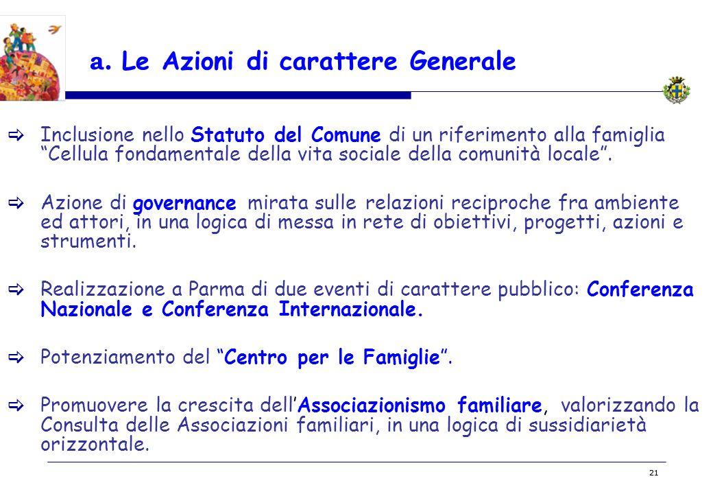 BOZZA 21 a. Le Azioni di carattere Generale Inclusione nello Statuto del Comune di un riferimento alla famiglia Cellula fondamentale della vita social