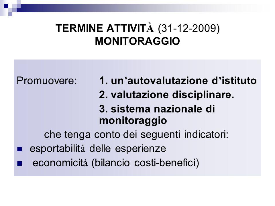 TERMINE ATTIVIT À (31-12-2009) MONITORAGGIO Promuovere:1. un autovalutazione d istituto 2. valutazione disciplinare. 3. sistema nazionale di monitorag