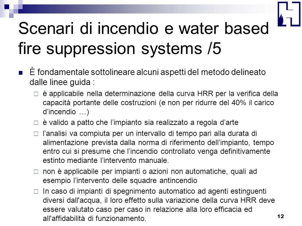 Scenari di incendio e water based fire suppression systems /5 È fondamentale sottolineare alcuni aspetti del metodo delineato dalle linee guida : è ap