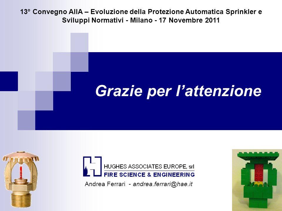 Grazie per lattenzione 13° Convegno AIIA – Evoluzione della Protezione Automatica Sprinkler e Sviluppi Normativi - Milano - 17 Novembre 2011 Andrea Fe