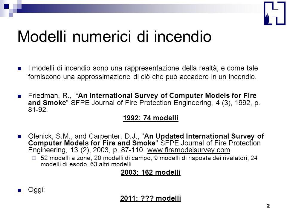 Modelli numerici di incendio I modelli di incendio sono una rappresentazione della realtà, e come tale forniscono una approssimazione di ciò che può a