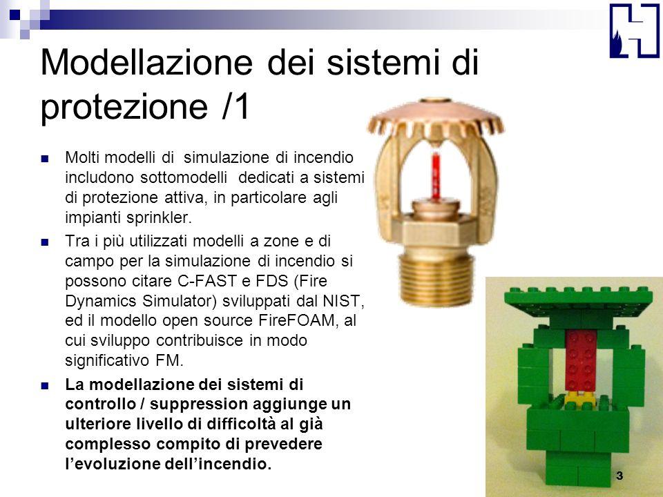 Modellazione dei sistemi di protezione /1 Molti modelli di simulazione di incendio includono sottomodelli dedicati a sistemi di protezione attiva, in