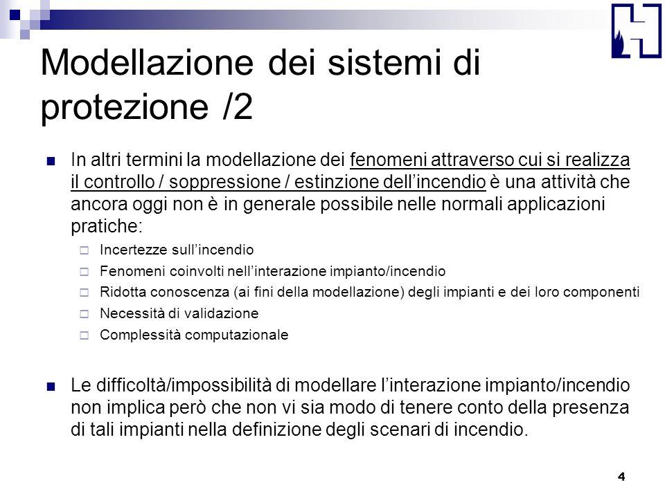 Modellazione dei sistemi di protezione /2 In altri termini la modellazione dei fenomeni attraverso cui si realizza il controllo / soppressione / estin