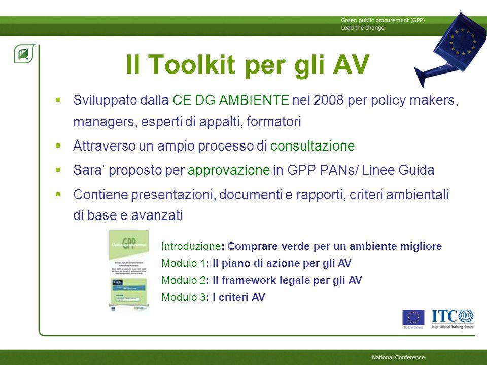 Il Toolkit per gli AV Sviluppato dalla CE DG AMBIENTE nel 2008 per policy makers, managers, esperti di appalti, formatori Attraverso un ampio processo