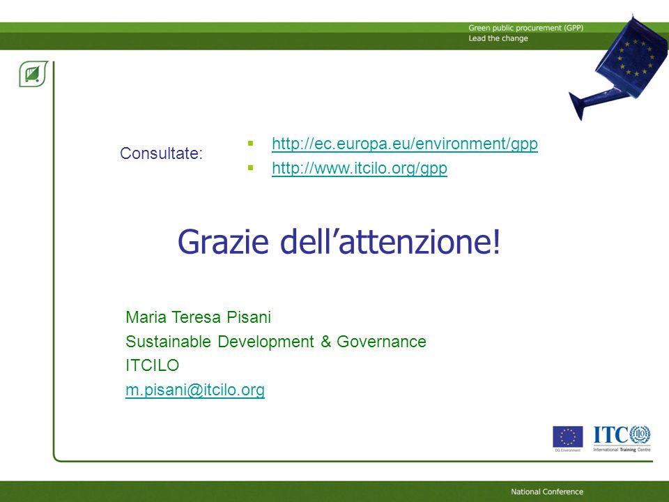 Grazie dellattenzione! http://ec.europa.eu/environment/gpp http://www.itcilo.org/gpp Consultate: Maria Teresa Pisani Sustainable Development & Governa