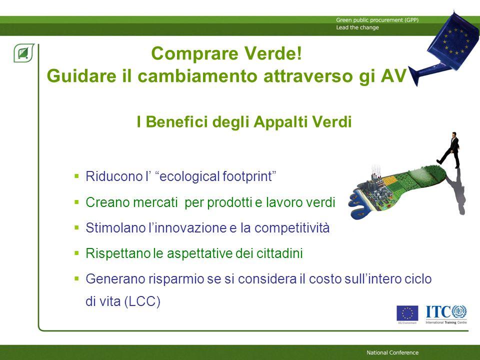 I Benefici degli Appalti Verdi Riducono l ecological footprint Creano mercati per prodotti e lavoro verdi Stimolano linnovazione e la competitività Ri