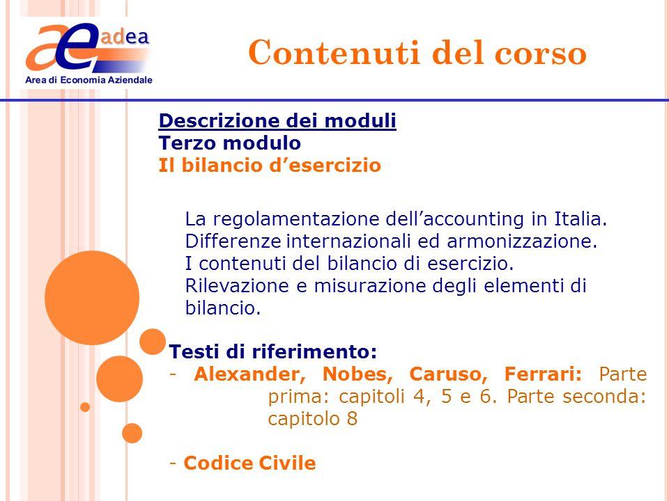 Contenuti del corso Descrizione dei moduli Terzo modulo Il bilancio desercizio La regolamentazione dellaccounting in Italia. Differenze internazionali