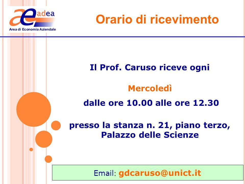 Orario di ricevimento Il Prof. Caruso riceve ogni Mercoledì dalle ore 10.00 alle ore 12.30 presso la stanza n. 21, piano terzo, Palazzo delle Scienze