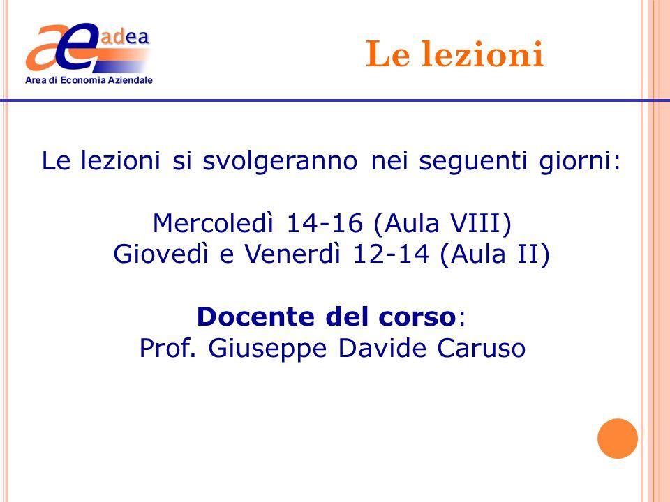 Le lezioni Le lezioni si svolgeranno nei seguenti giorni: Mercoledì 14-16 (Aula VIII) Giovedì e Venerdì 12-14 (Aula II) Docente del corso: Prof. Giuse