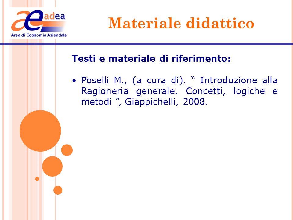 Materiale didattico Testi e materiale di riferimento: Alexander D., Nobes C., Caruso G.D., Ferrari E.R.