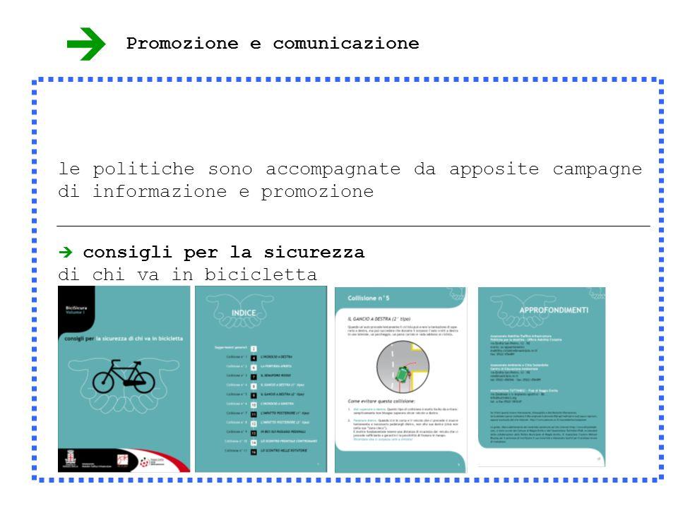 consigli per la sicurezza di chi va in bicicletta le politiche sono accompagnate da apposite campagne di informazione e promozione Promozione e comunicazione