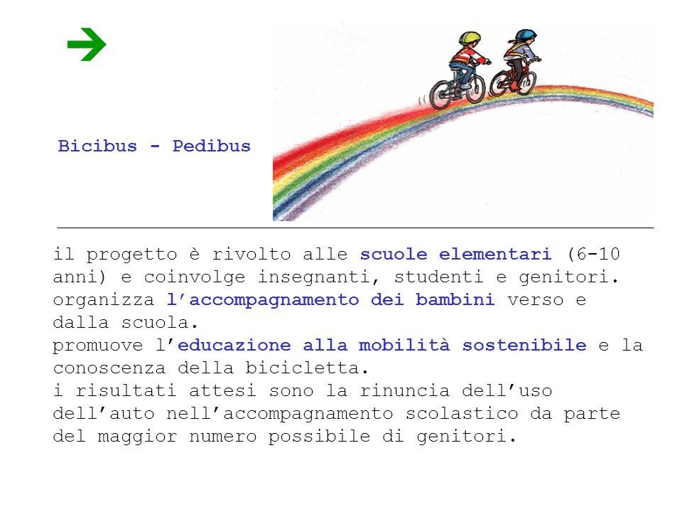 Bicibus - Pedibus il progetto è rivolto alle scuole elementari (6-10 anni) e coinvolge insegnanti, studenti e genitori.