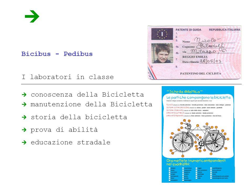 Bicibus - Pedibus I laboratori in classe conoscenza della Bicicletta manutenzione della Bicicletta storia della bicicletta prova di abilità educazione stradale