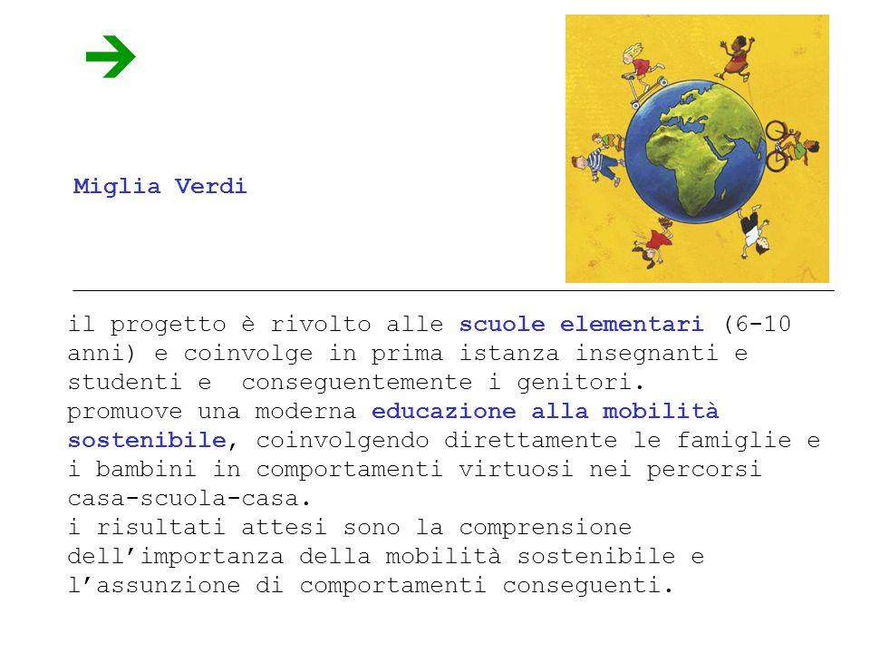 Miglia Verdi il progetto è rivolto alle scuole elementari (6-10 anni) e coinvolge in prima istanza insegnanti e studenti e conseguentemente i genitori.
