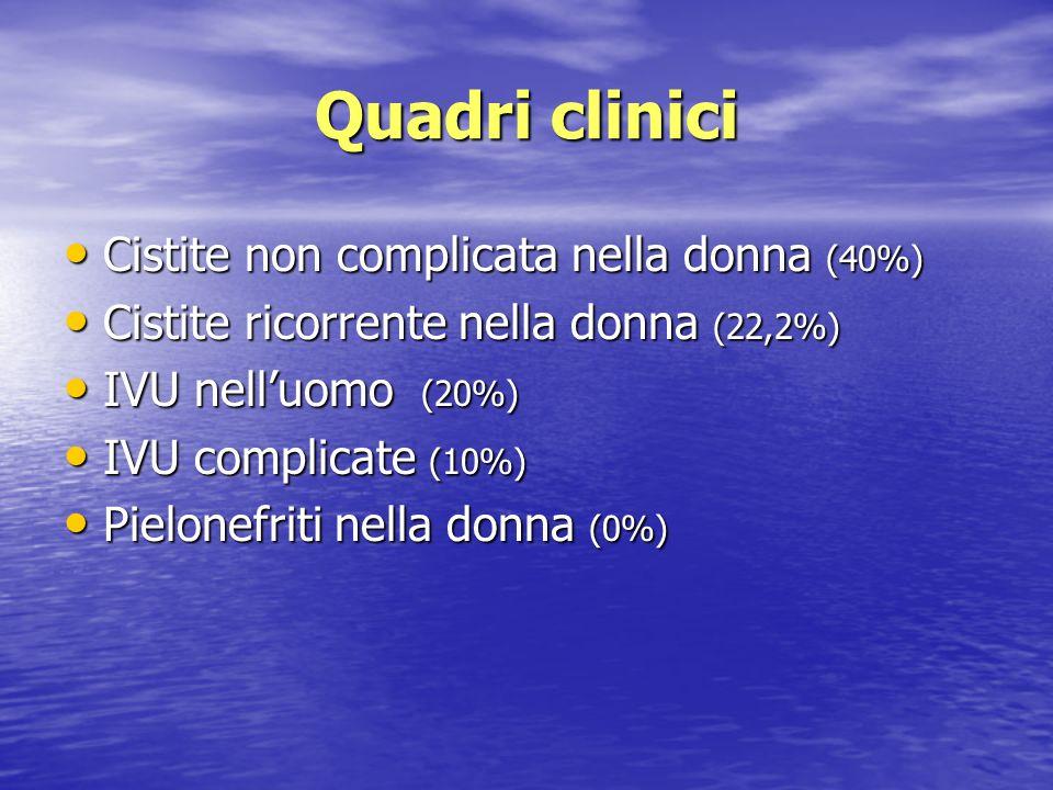 Quadri clinici Cistite non complicata nella donna (40%) Cistite non complicata nella donna (40%) Cistite ricorrente nella donna (22,2%) Cistite ricorr
