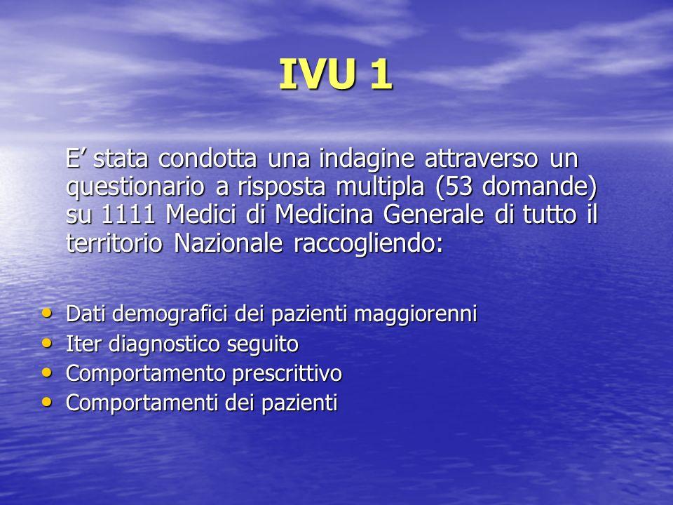IVU 1 E stata condotta una indagine attraverso un questionario a risposta multipla (53 domande) su 1111 Medici di Medicina Generale di tutto il territ
