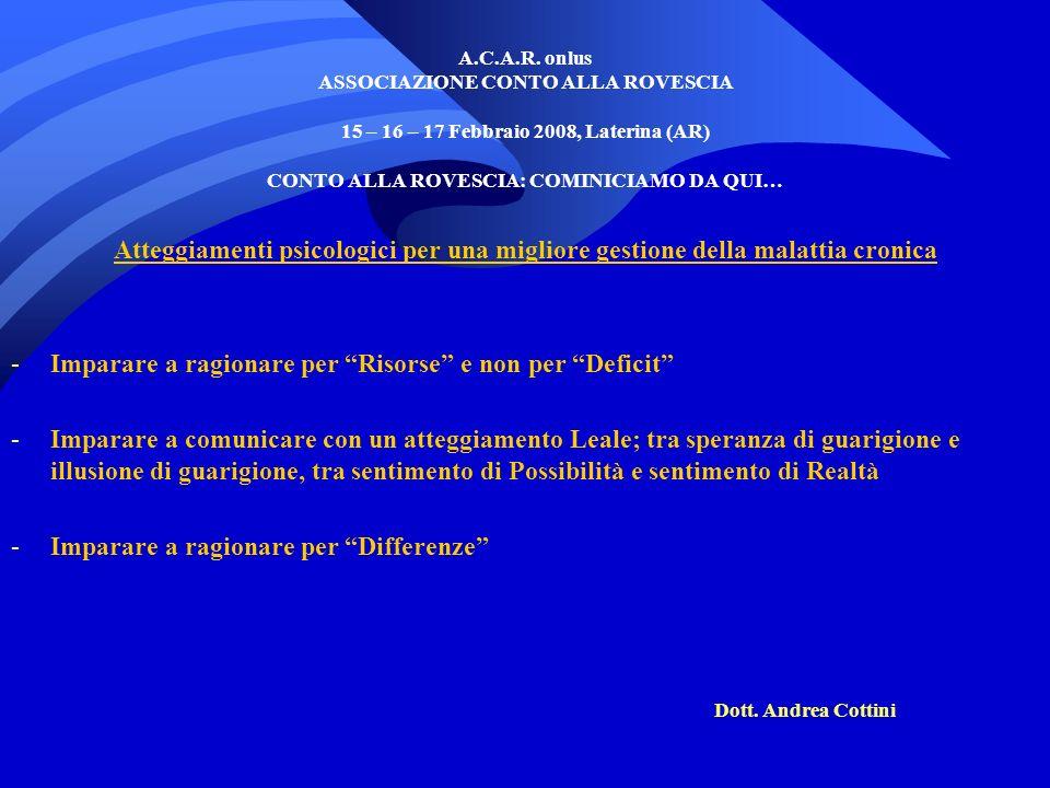 A.C.A.R. onlus ASSOCIAZIONE CONTO ALLA ROVESCIA 15 – 16 – 17 Febbraio 2008, Laterina (AR) CONTO ALLA ROVESCIA: COMINICIAMO DA QUI… Atteggiamenti psico