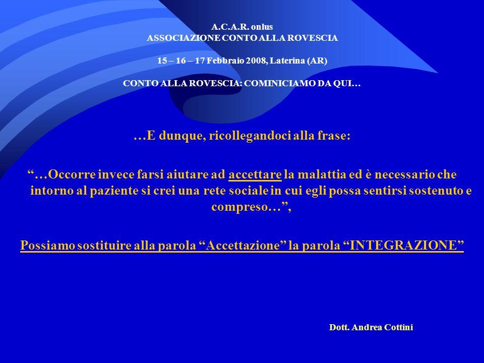 A.C.A.R. onlus ASSOCIAZIONE CONTO ALLA ROVESCIA 15 – 16 – 17 Febbraio 2008, Laterina (AR) CONTO ALLA ROVESCIA: COMINICIAMO DA QUI… …E dunque, ricolleg