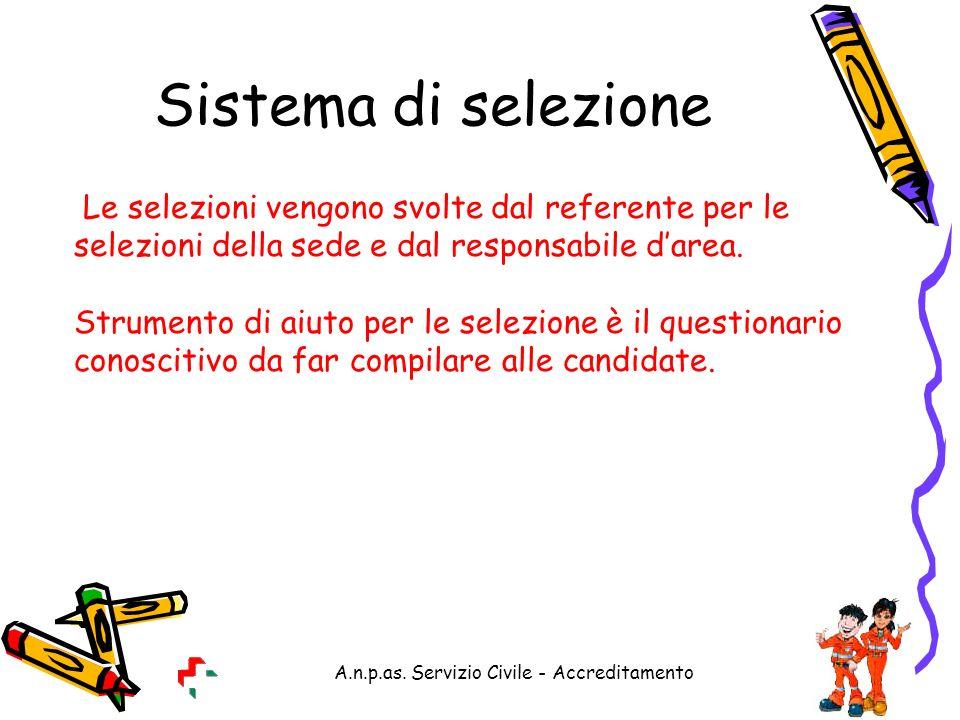 A.n.p.as. Servizio Civile - Accreditamento Sistema di selezione Le selezioni vengono svolte dal referente per le selezioni della sede e dal responsabi