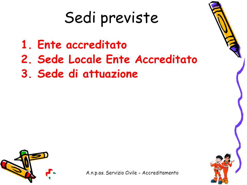A.n.p.as. Servizio Civile - Accreditamento Sedi previste 1.Ente accreditato 2.Sede Locale Ente Accreditato 3.Sede di attuazione