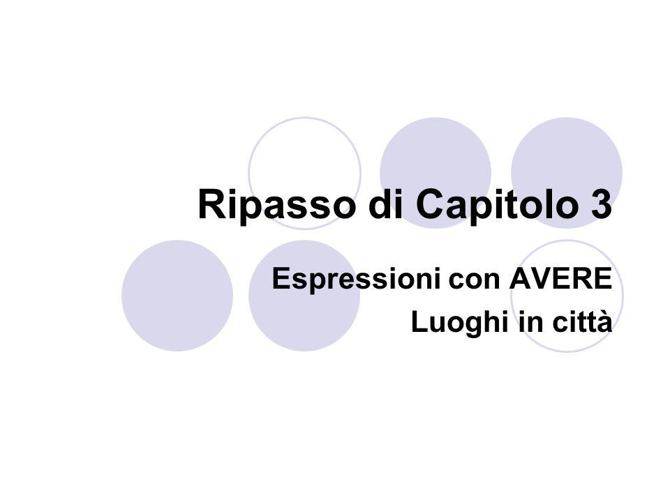 Ripasso di Capitolo 3 Espressioni con AVERE Luoghi in città