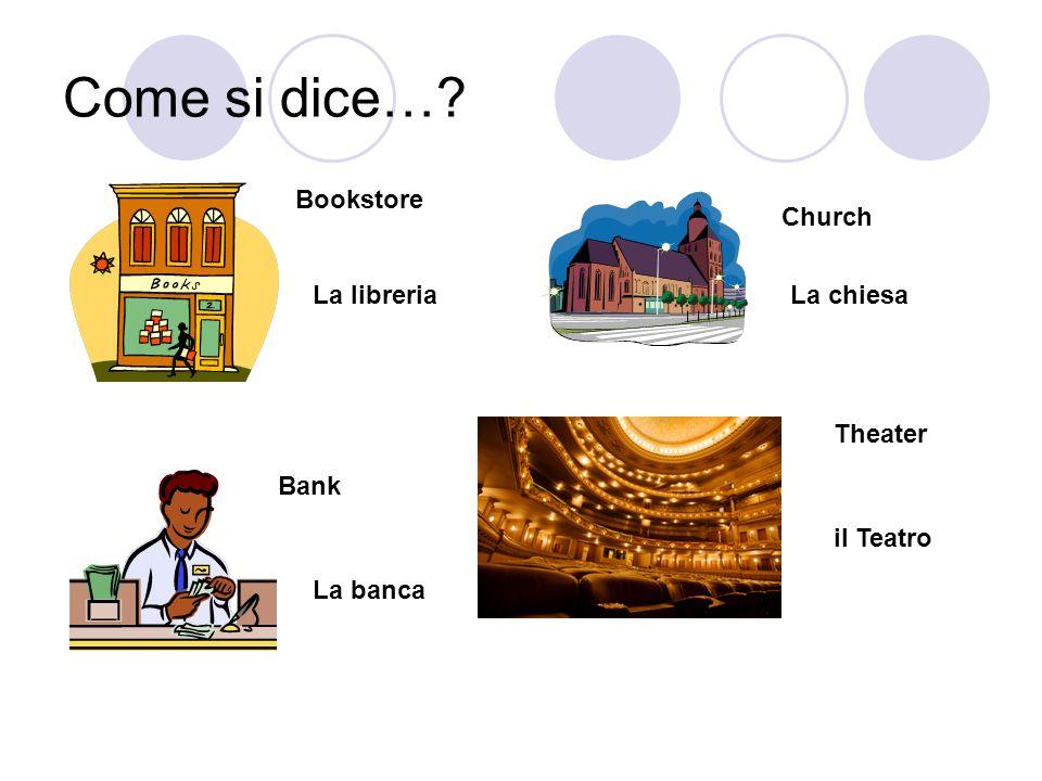 Come si dice…? Bookstore La libreria Church La chiesa Bank La banca Theater il Teatro