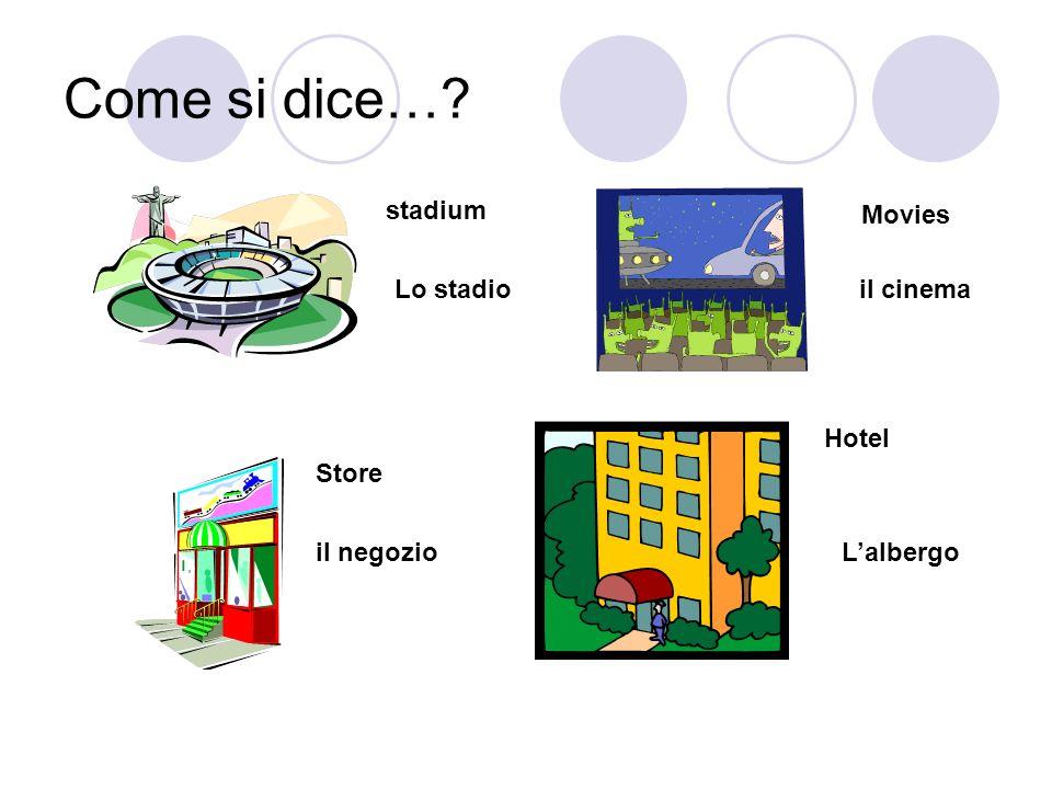Come si dice…? stadium Lo stadio Movies il cinema Store il negozio Hotel Lalbergo