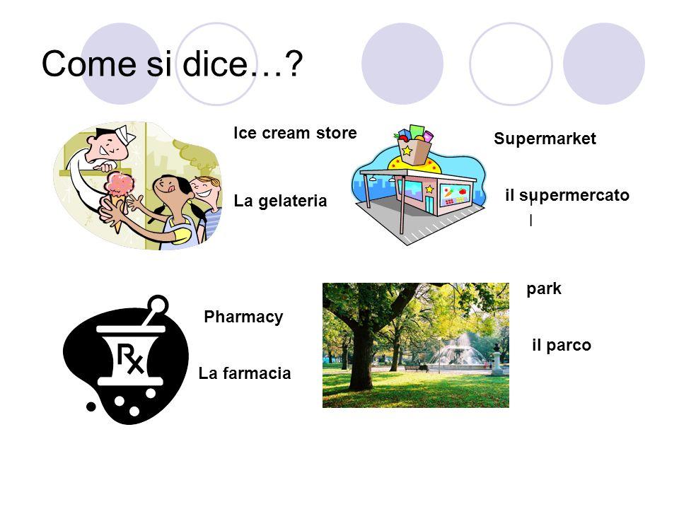 Come si dice…? Ice cream store La gelateria Supermarket Il Il il supermercato Pharmacy La farmacia park il parco