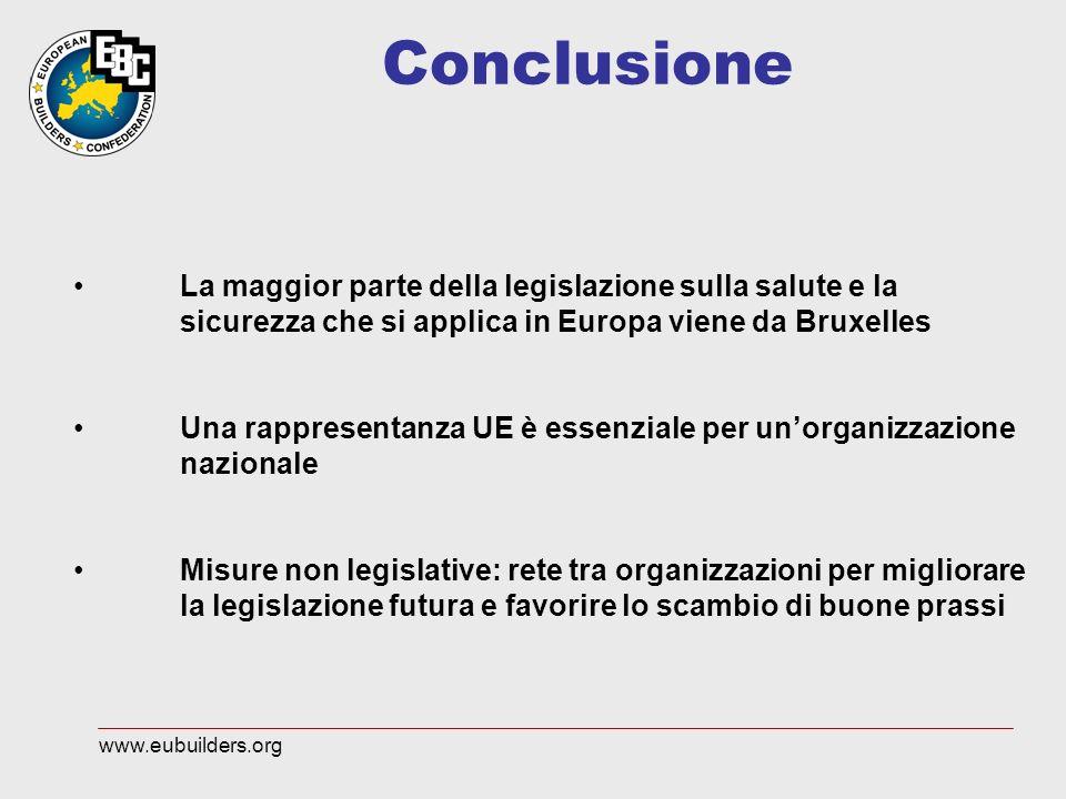 Conclusione La maggior parte della legislazione sulla salute e la sicurezza che si applica in Europa viene da Bruxelles Una rappresentanza UE è essenz