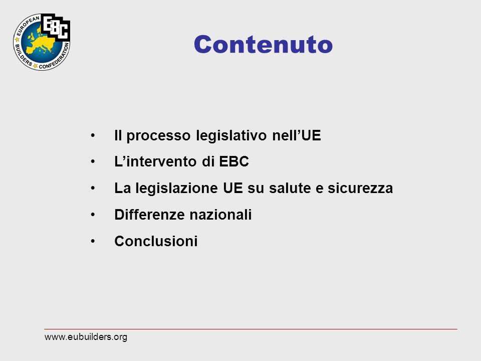 Contenuto Il processo legislativo nellUE Lintervento di EBC La legislazione UE su salute e sicurezza Differenze nazionali Conclusioni www.eubuilders.org