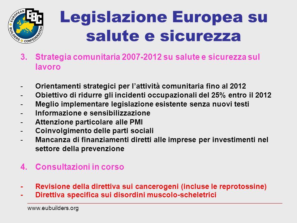 Legislazione Europea su salute e sicurezza 3.Strategia comunitaria 2007-2012 su salute e sicurezza sul lavoro -Orientamenti strategici per lattività c