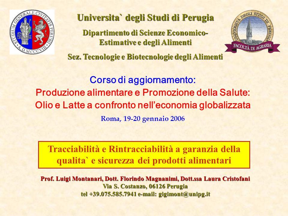 Tracciabilità e Rintracciabilità a garanzia della qualita` e sicurezza dei prodotti alimentari Universita` degli Studi di Perugia Dipartimento di Scie
