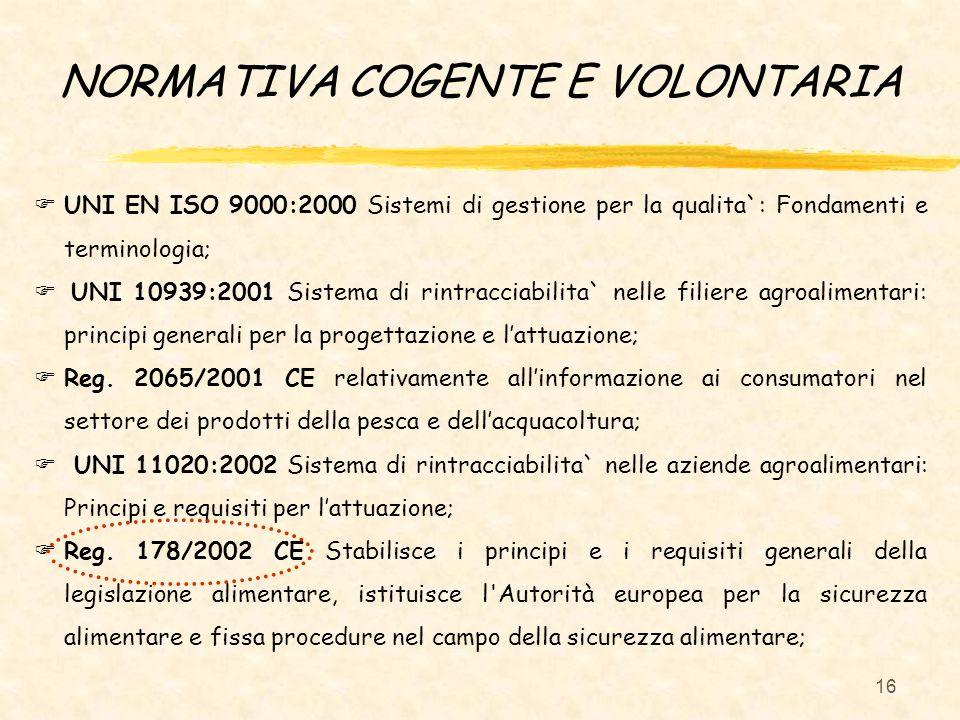 16 NORMATIVA COGENTE E VOLONTARIA UNI EN ISO 9000:2000 Sistemi di gestione per la qualita`: Fondamenti e terminologia; UNI 10939:2001 Sistema di rintr